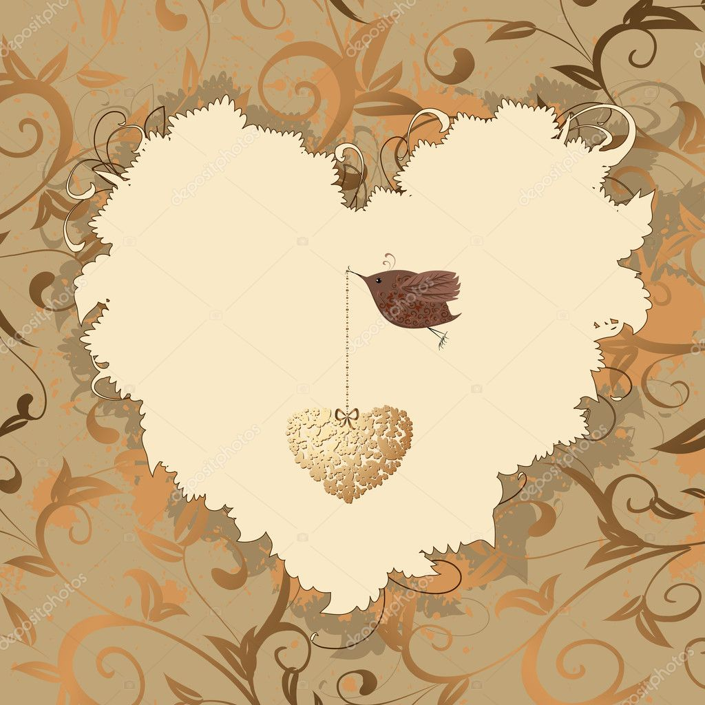 Bird heart of gold — Stock Vector #4619717