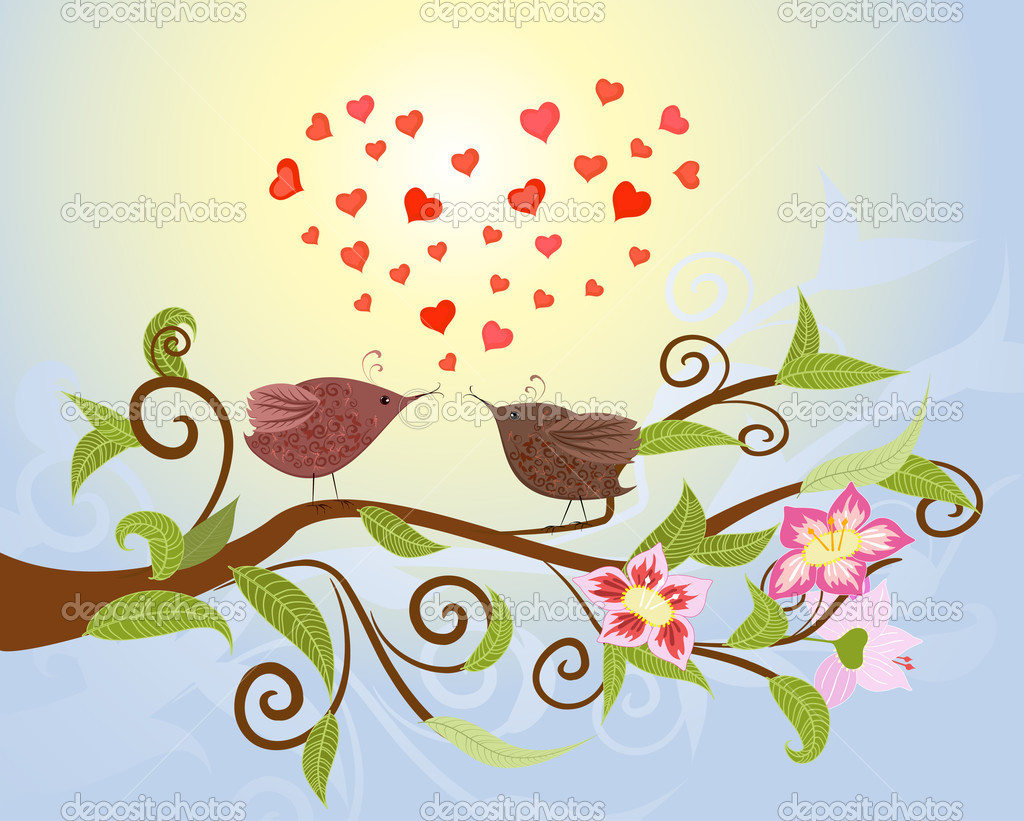 Bird love — Stock Vector #4619719