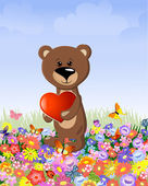 Bear with a valentine — Stock Vector