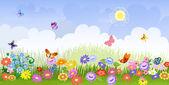 Flower meadow panorama — Stock Vector