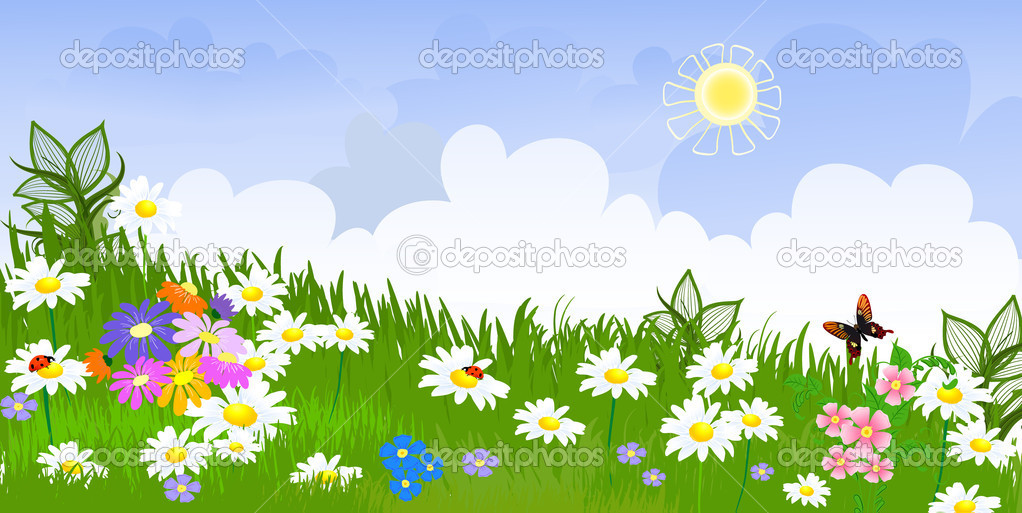 Flower meadow panorama — Stock Vector #4784583