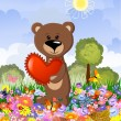 Bear in love on the lawn — Stock Vector