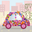 Stock Vector: Hilarious car in city