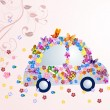 Stock Vector: Romantic floral car with butterflies