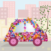 Hilarious car in the city — Vector de stock