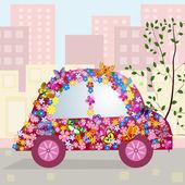 Komik araba şehir içinde — Stok Vektör
