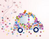蝶が付いているロマンチックな花柄車 — ストックベクタ
