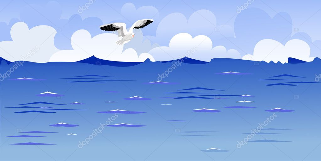 Panorama of the ocean with a soaring gull — Stock Vector #4882458