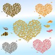 Stock Vector: Set of valentines from the fish