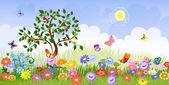 Krajobraz lato z drzew owocowych — Wektor stockowy