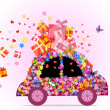 Stock Vector: Car full of gifts