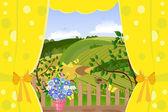 Window overlooking the rural landscape — Stock Vector