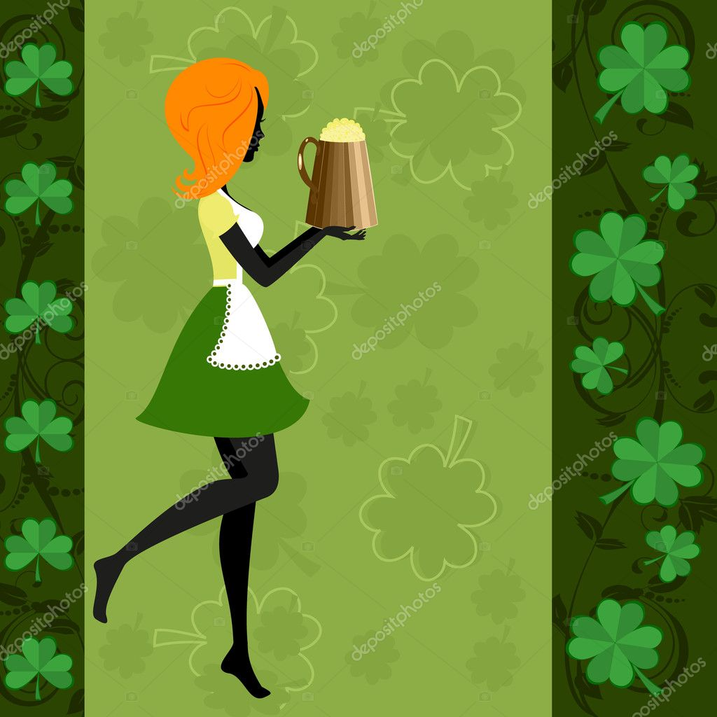 Girl with a beer at the festival patric — Stock Vector #5035446
