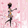 Girl flowers pattern - Stockvectorbeeld