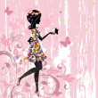 Girl flowers pattern - Image vectorielle
