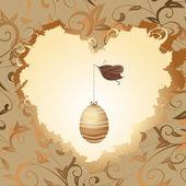 Golden egg in the heart of a bird — Stock Vector