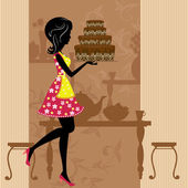 Girl with chocolate cake — Stock Vector