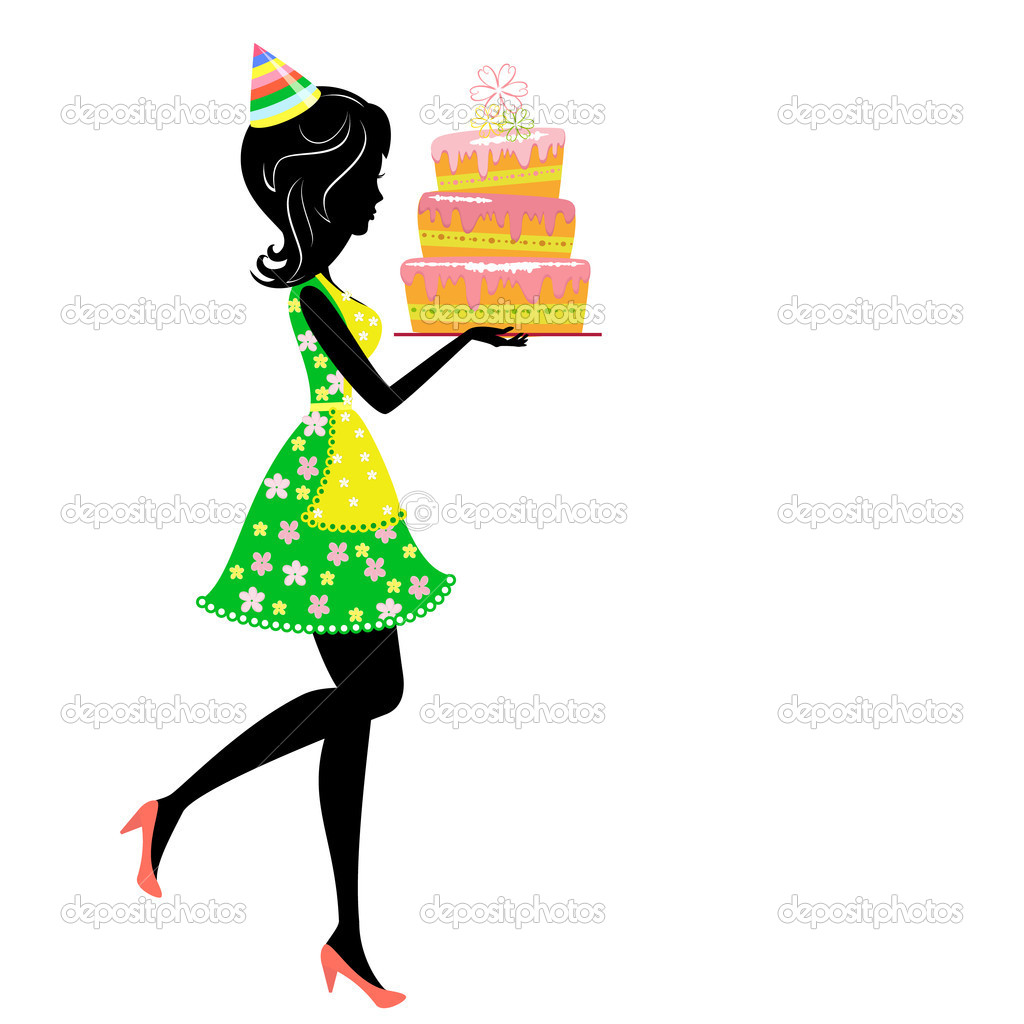 Girl with birthday cake  Stock Vector #5126235