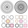 Set of patterns and arabesques round frames — Stock Vector