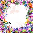 Frame floral pattern with butterflies — Stock Vector
