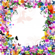Frame floral pattern with butterflies — Stock Vector #5269172