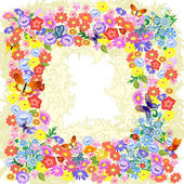 Frame flower romantic — Stock Vector