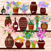 Shelves with ceramic pots and flowers — Stock Vector