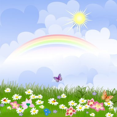 Floral landscape with rainbow