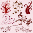 conjunto de patrones florales abstractos — Vector de stock