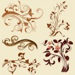 Set of abstract floral patterns — Vector de stock
