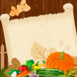 Stock Vector: Autumn harvest menu for paper grunge