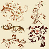 Set of abstract floral patterns — Stock Vector