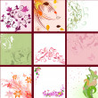 Set of floral patterns background — Stock Vector #5363254