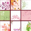 Stock Vector: Set of floral patterns background