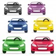 Car convertible in different colors — Stock Vector