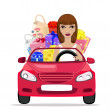Girl with shopping in the car — Stock Vector