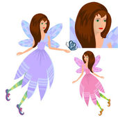 Girl fairy with butterfly — Stock Vector