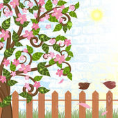 Cherry blossoms near the fence with birds — Stock Vector