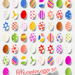 Stok Vektör: Fifty easter eggs