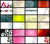 12 cartes de visite horizontales, deux côtés — Vecteur