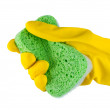 Hand in rubber glove with sponge isolated. — Stock Photo