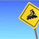 Traffic sign roller sky background vector format. — Stock Vector #4129114