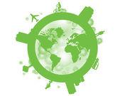 Dünya, gezegen, dünya haritası. — Stok Vektör