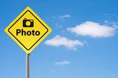 Sign photo sky background. — Stock Photo