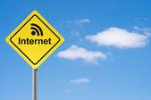 Sign internet broadcasting sky background. — Stock Photo