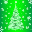 Stock Vector: Vector christmas fur-tree on green background.