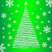 Vector christmas fur-tree on green background. — Stock Vector