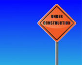 Roadsign under construction sky background vector format. — Stock Vector