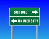 Fondo roadsign escuela universidad cielo. — Vector de stock