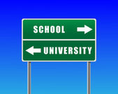 Roadsign škola univerzity sky pozadí. — Stock vektor